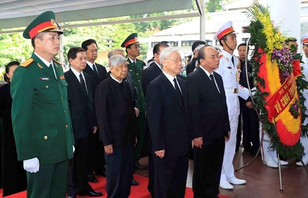 阮富仲等党和国家领导出席国家主席陈大光遗体告别仪式 hinh anh 1