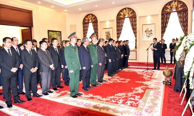 越南驻各国大使馆举行陈大光主席吊唁仪式 国际友人前来送别 hinh anh 2