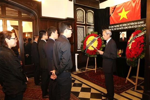 越南驻各国大使馆为陈大光主席举行吊唁仪式并设吊唁簿 hinh anh 2