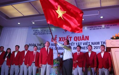 2018年亚残会越南体育代表团出征仪式在胡志明市举行 hinh anh 1