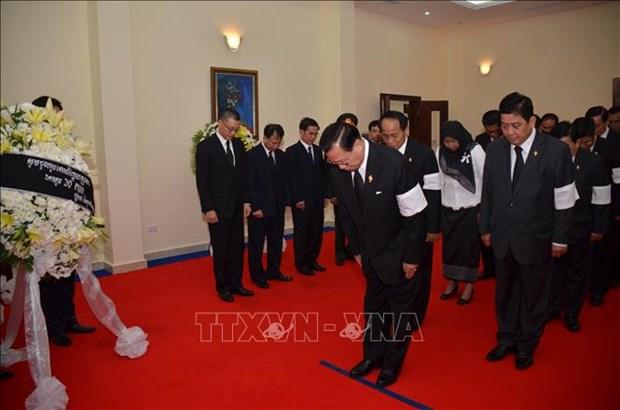 越南驻柬埔寨、澳大利亚大使馆举行原越共中央总书记杜梅吊唁仪式 hinh anh 1