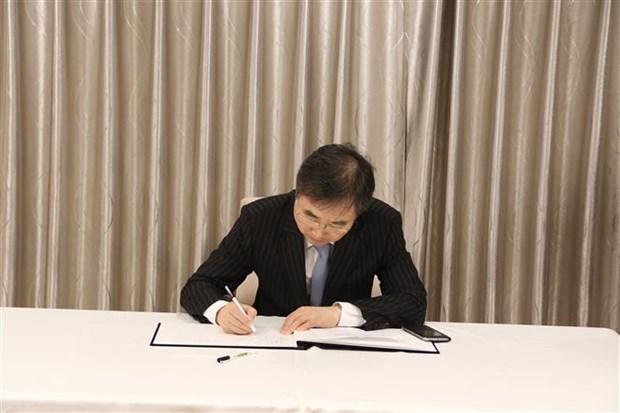 越南驻泰国、韩国大使馆举行原越共中央总书记杜梅吊唁仪式 hinh anh 2