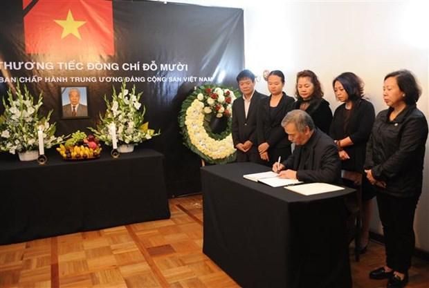 越南驻各国大使馆举行原越共中央总书记杜梅吊唁仪式 hinh anh 3