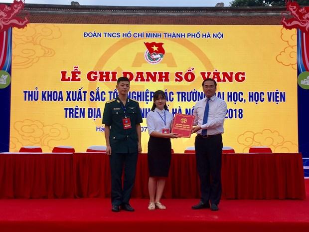 河内市高等院校88名优秀毕业生获表彰 hinh anh 1