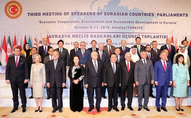 越南国会主席阮氏金银出席第三届亚欧国家议长会议开幕式 hinh anh 1