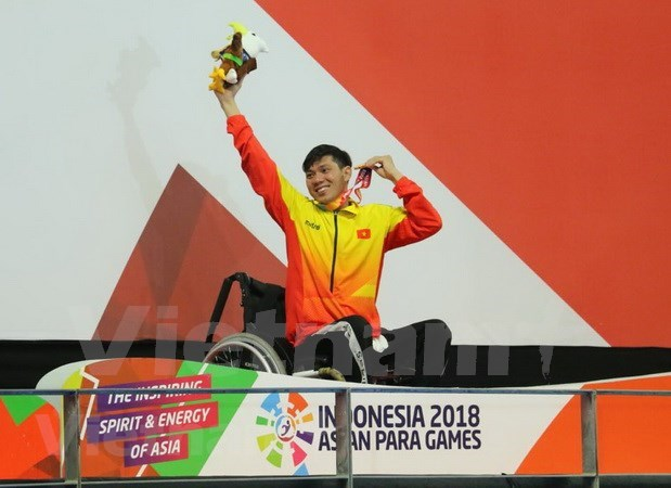 2018年亚残运会:游泳运动员武青松夺下第二枚金牌 hinh anh 1