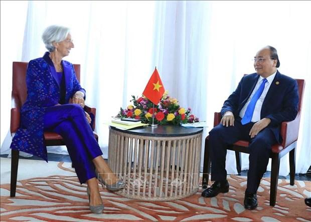 越南政府总理阮春福会见国际货币基金组织总裁 hinh anh 1