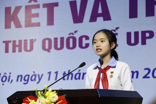越南学生在UPU国际少年书信写作比赛荣获三等奖 hinh anh 1