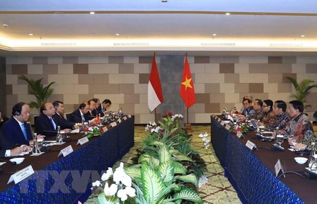 越南政府总理阮春福和印度尼西亚总统佐科·维多多共同主持新闻发布会 hinh anh 2