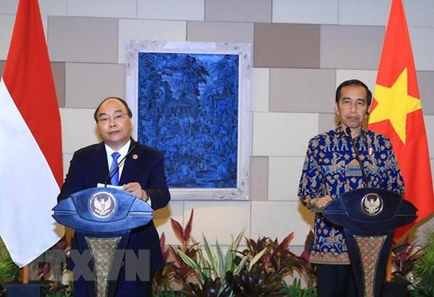 越南政府总理阮春福和印度尼西亚总统佐科·维多多共同主持新闻发布会 hinh anh 1