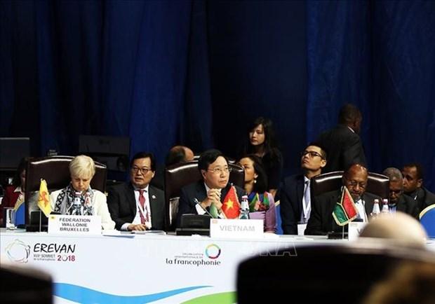 越南政府副总理兼外长范平明在第十七届法语国家组织峰会上发言 hinh anh 1