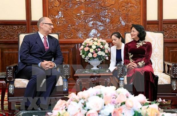 越南国家代主席邓氏玉盛接受三国新任驻越大使递交国书 hinh anh 3
