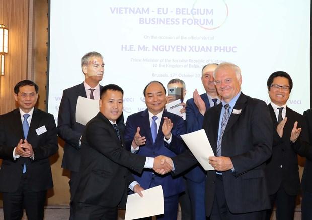 政府总理阮春福出席越南-欧盟与比利时企业论坛 hinh anh 1