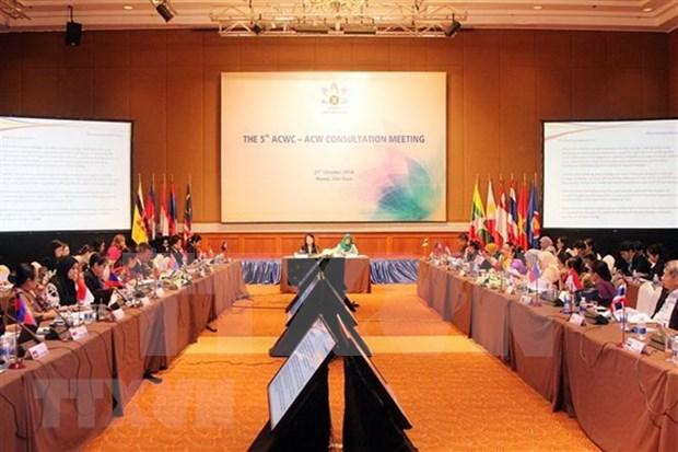 东盟妇女委员会与东盟促进和保护妇女和儿童权利委员会第五次磋商召开 hinh anh 1