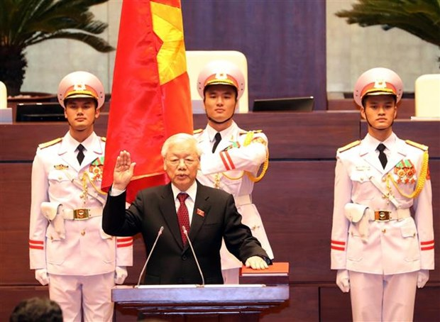 越南第十四届国会第六次会议:阮富仲同志宣誓就任2016-2021年任期国家主席 hinh anh 1