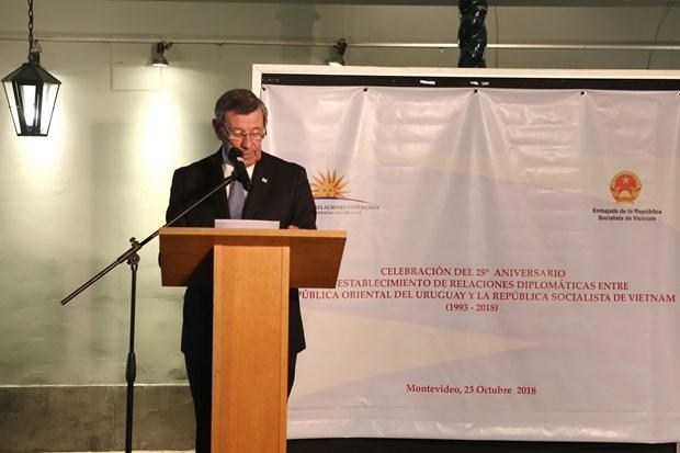 越南与乌拉圭建交25周年纪念典礼在乌拉圭举行 hinh anh 1