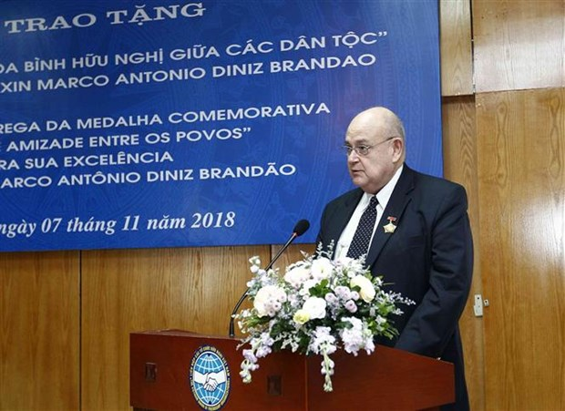 越南友好组织联合会向巴西驻越大使授予纪念章 hinh anh 3