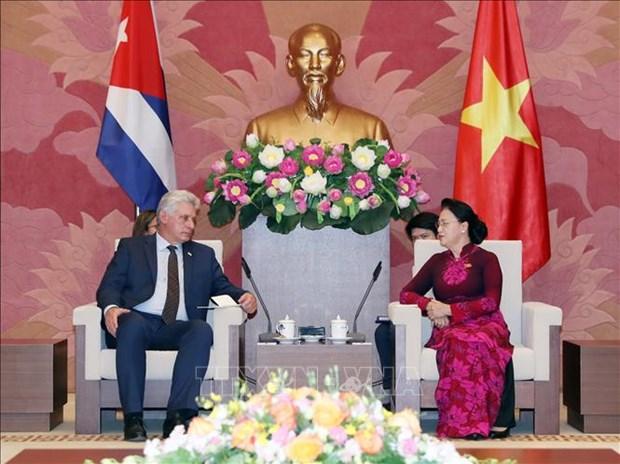 越南国会主席会见古巴国务委员会主席兼部长会议主席 hinh anh 1