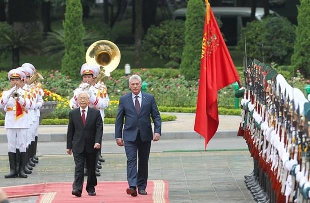 古巴媒体纷纷报道古巴国务委员会主席兼部长会议主席迪亚斯-卡内尔访越之旅 hinh anh 1