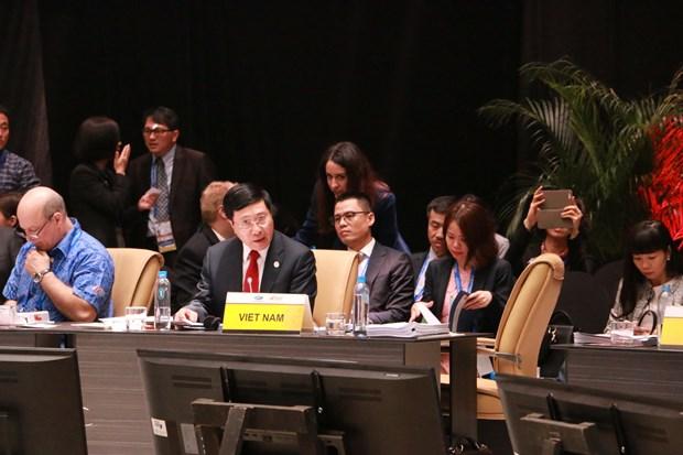 越南政府副总理兼外长范平明出席APEC外交和贸易部长级会议 hinh anh 1