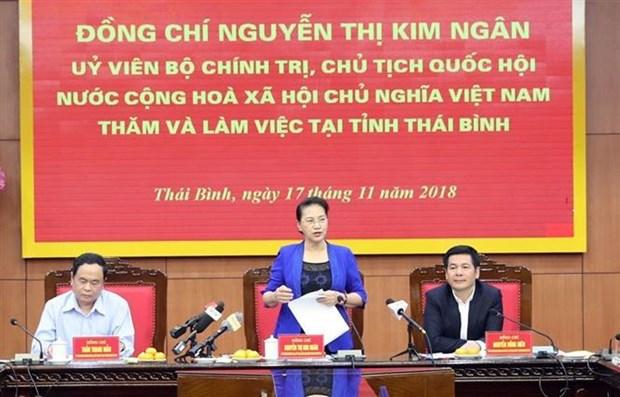 越南国会主席阮氏金银访问太平省 hinh anh 1