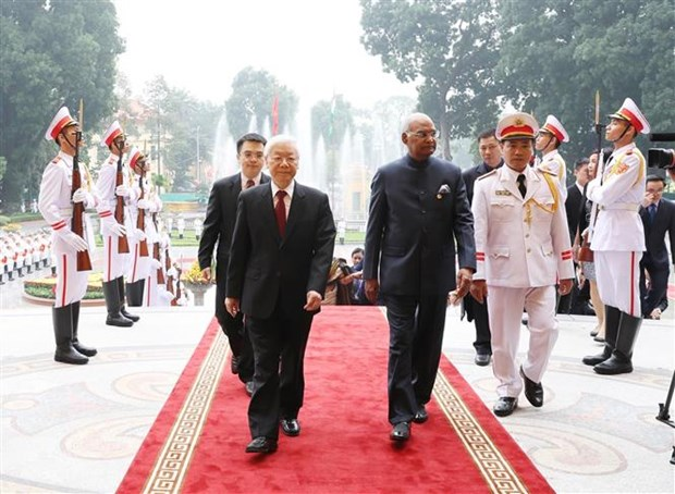 阮富仲与印度总统科温德举行会谈 hinh anh 1