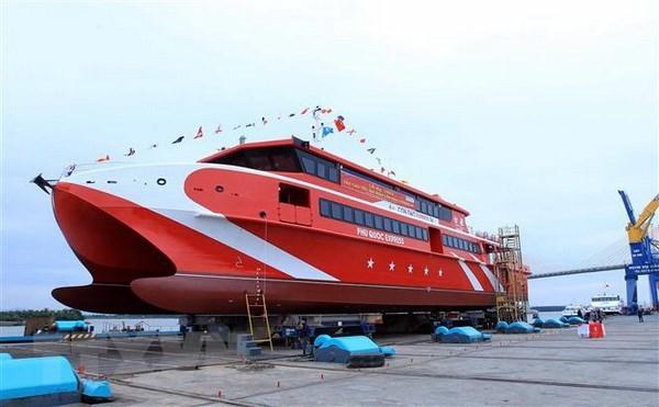 海防市:36号昆岛Express双体高速客船成功下水 hinh anh 1