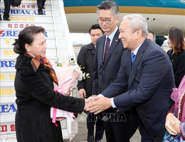 国会主席阮氏金银抵达釜山 开始对韩国进行正式访问 hinh anh 1