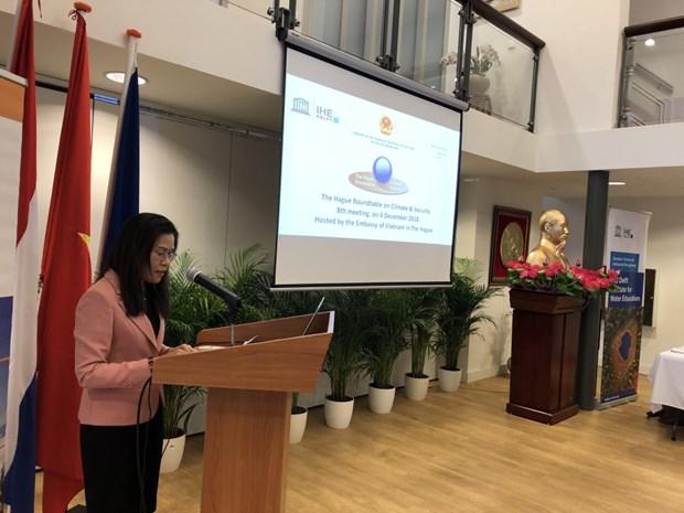 越南驻荷兰大使馆举行有关气候变化和安全的圆桌会议 hinh anh 2