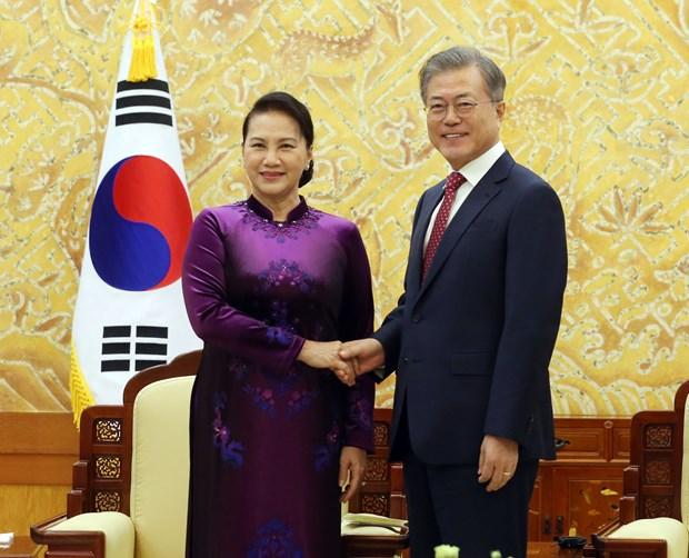 越南国会主席阮氏金银会见韩国总统文在寅 hinh anh 1