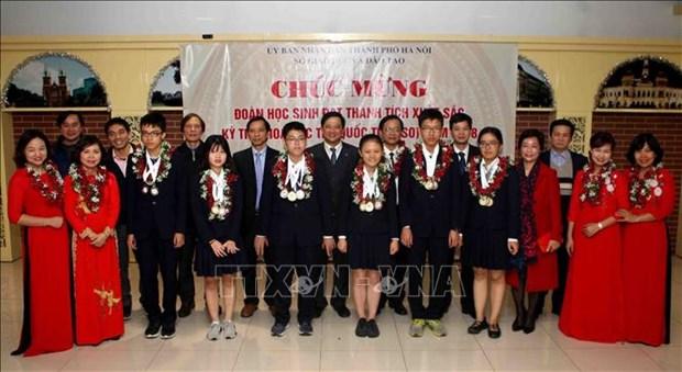 河内表彰在2018年IJSO竞赛中取得出色成绩的学生代表团 hinh anh 1