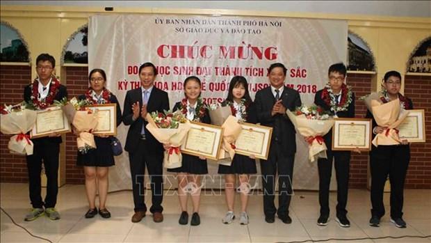 河内表彰在2018年IJSO竞赛中取得出色成绩的学生代表团 hinh anh 2