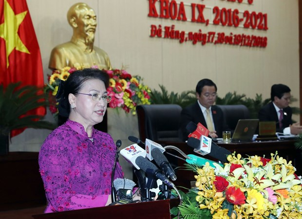 国会主席阮氏金银出席岘港市第九届人民议会第九次会议 hinh anh 1