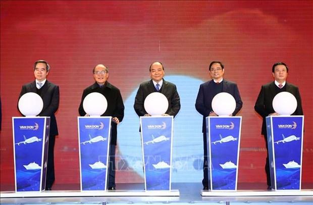 政府总理阮春福出席广宁省三个重大工程项目的竣工投运仪式 hinh anh 1