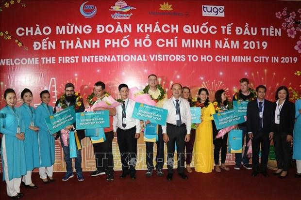 河内和胡志明市等省市迎来2019年第一位国际游客 hinh anh 2
