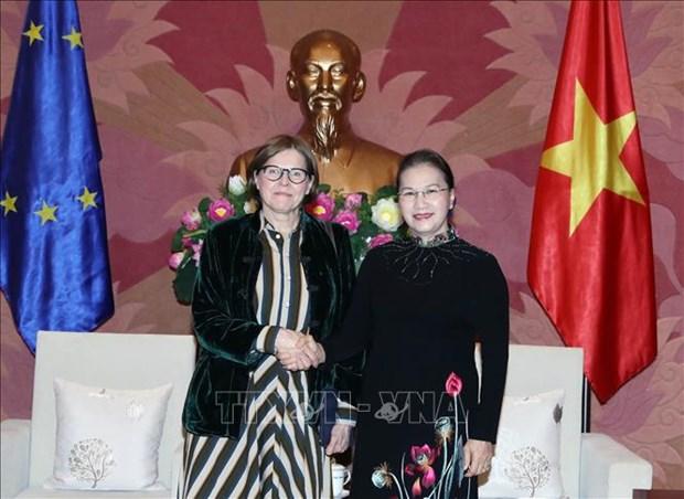 国会主席阮氏金银会见欧洲议会副议长海蒂 hinh anh 1