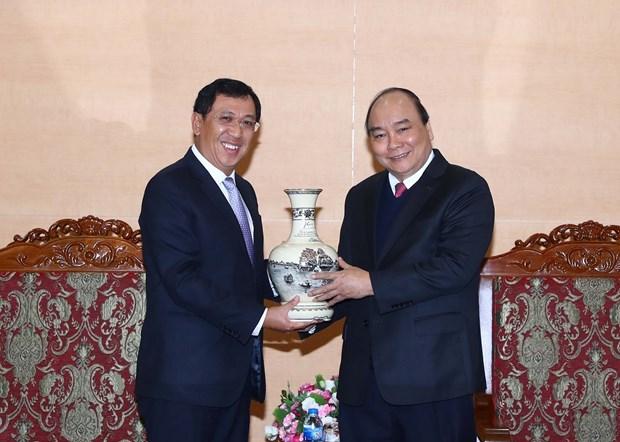 阮春福总理会见老挝中央银行行长宋赛•斯法赛 hinh anh 1