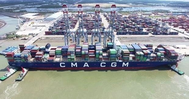 巴地头顿省盖梅国际港码头迎来世界最大集装箱船 hinh anh 1