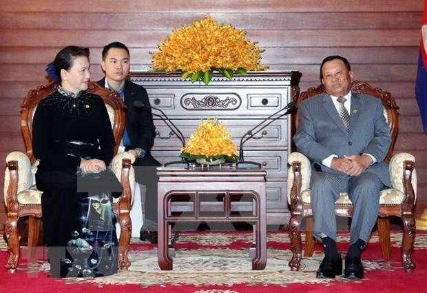 越南国会主席阮氏金银会见柬埔寨参议院主席赛宗 hinh anh 1