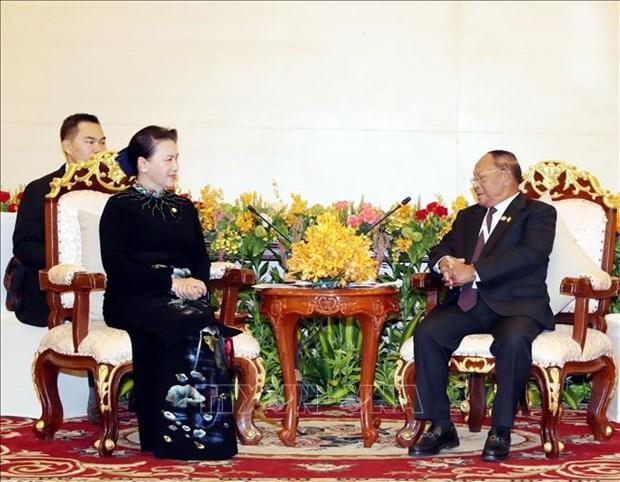 越南国会主席阮氏金银会见柬埔寨国会主席韩桑林 hinh anh 1