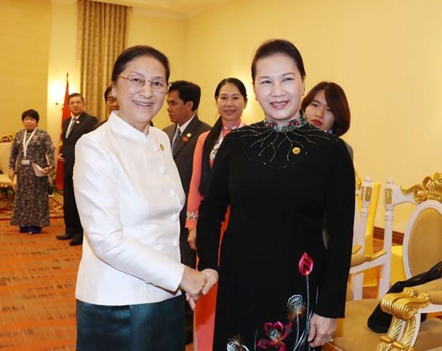 越南国会主席阮氏金银会见老挝国会主席巴妮·雅陶都 hinh anh 1