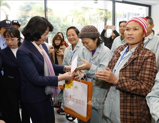 越南国家副主席邓氏玉盛向贫困癌症患者赠送年礼 hinh anh 1