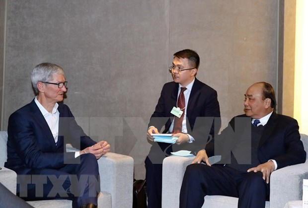 WEF Davos 2019:越南政府总理阮春福会见跨国集团领导 hinh anh 1