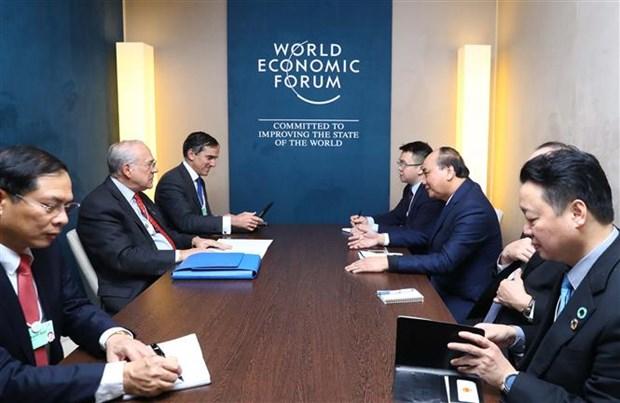 阮春福总理在2019年世界经济论坛年会期间举行一系列双边会晤 hinh anh 2