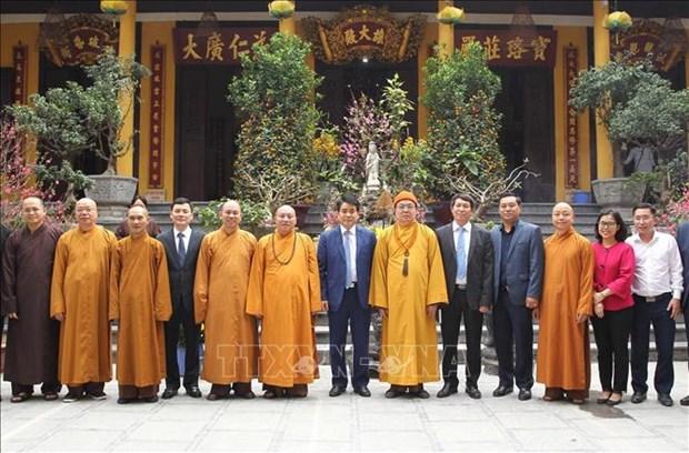 河内市人民委员会主席向越南佛教教会致以新春祝福 hinh anh 1