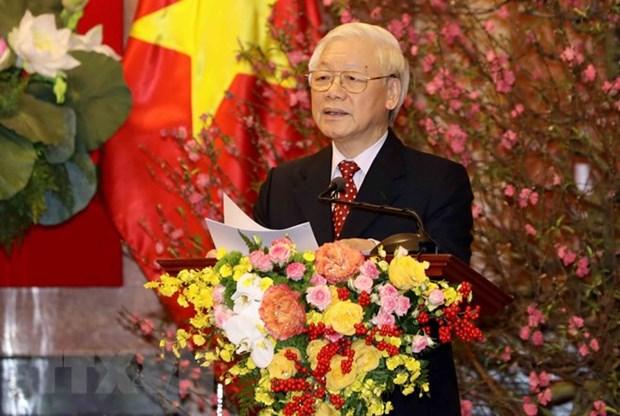 越共中央总书记、国家主席阮富仲向党和国家领导、全国军民拜年 hinh anh 1