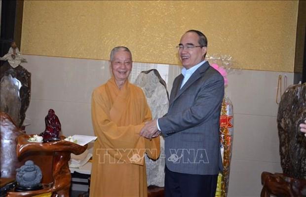 胡志明市和河内市领导人向各宗教团体拜年 hinh anh 1