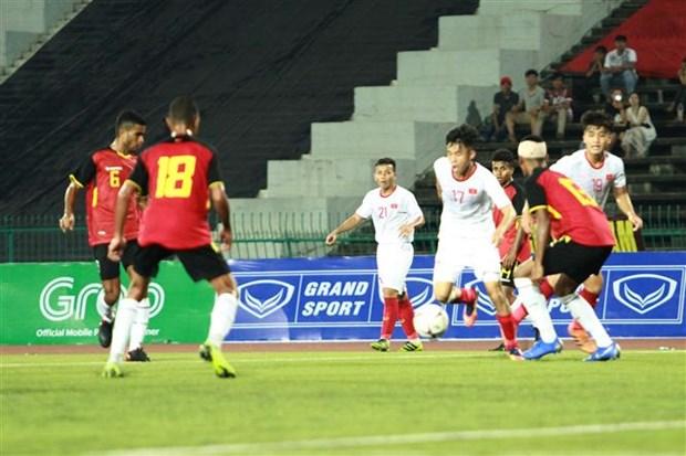 东南亚U22足球锦标赛:越南队4-0大胜东帝汶队晋级半决赛 hinh anh 1