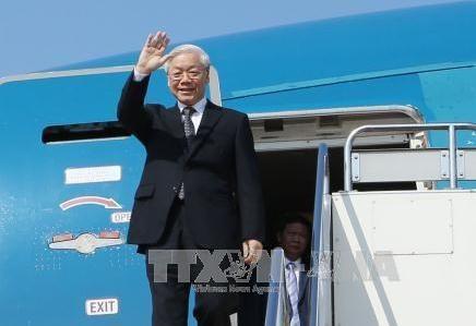越共中央总书记、国家主席阮富仲离开河内 启程访问老挝和柬埔寨 hinh anh 1