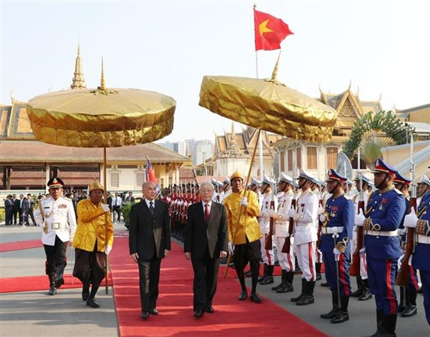 越共中央总书记、国家主席阮富仲同柬埔寨国王诺罗敦·西哈莫尼举行会谈 hinh anh 2